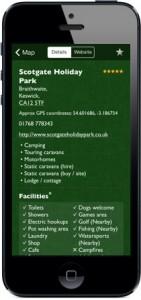 Campsite and caravan parks app screenshot