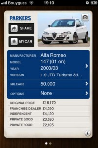 Parkers car price checker app