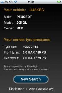 Tyre safe app screenshot