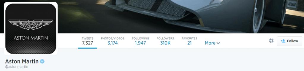 Screenshot of Aston Martin's twitter page