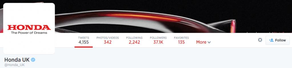 Screenshot of Honda's Twitter page