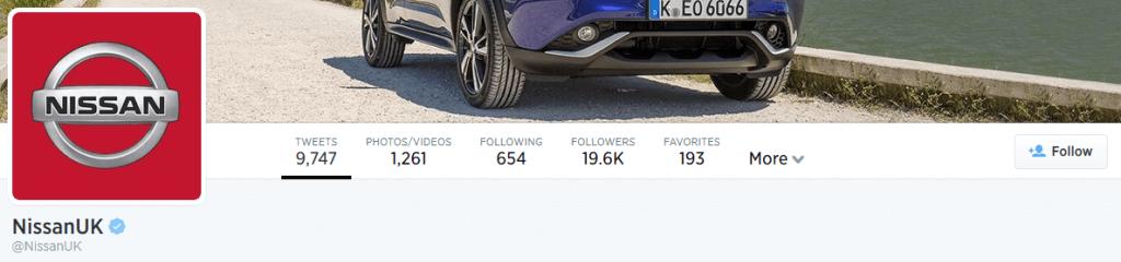 Nissan's Twitter Account Screenshot