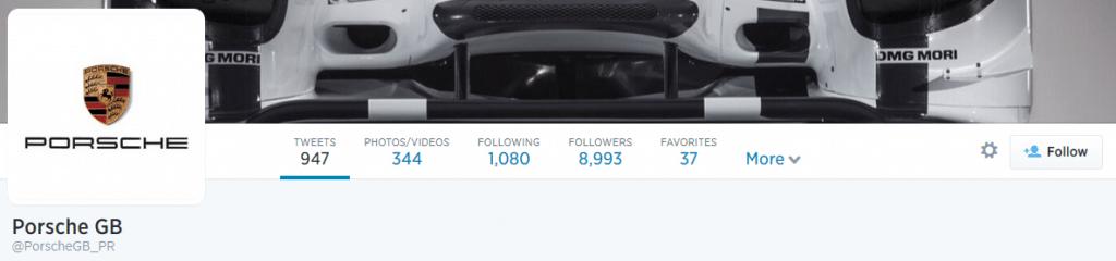 Screenshot of Porsche UK twitter page