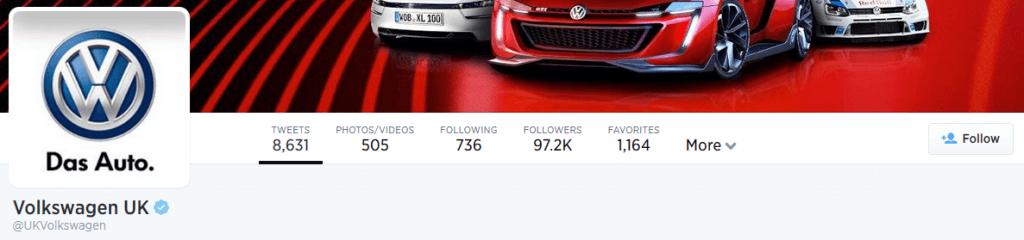 Screenshot of Volkswagen's Twitter Page