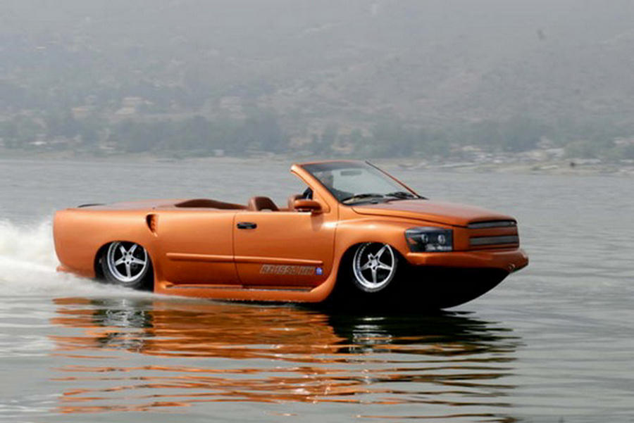 Amphibious car on water