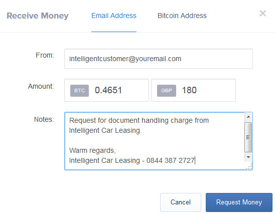 screenshot of a sales advisor requesting a bitcoin payment from customer