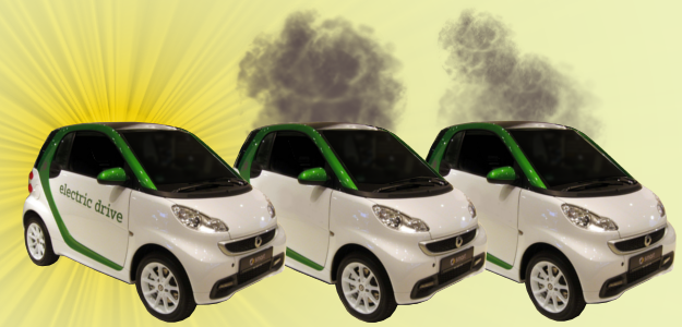 two petrol cars next to one electric car