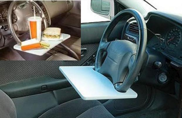 Tray attached to steering wheel